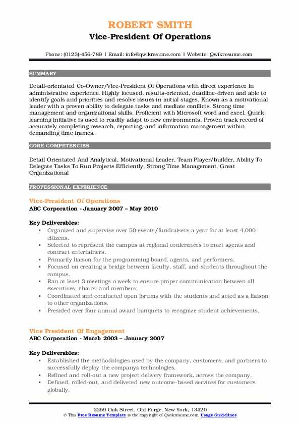 Vice-President Of Operations Resume Example