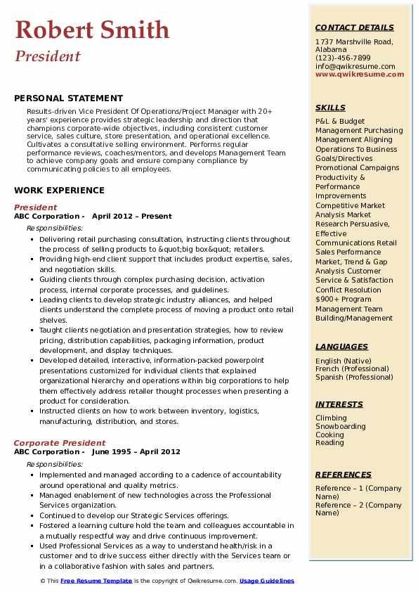 President Resume Model
