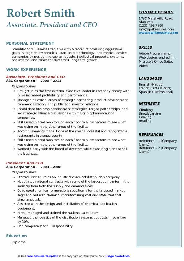 president and ceo resume samples  qwikresume