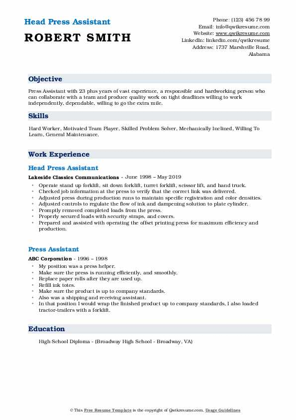 Head Press Assistant Resume Template