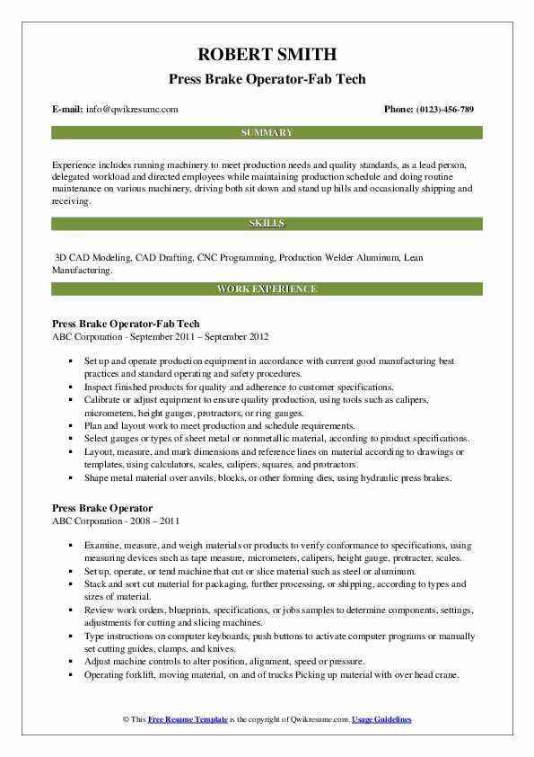Press Brake Operator-Fab Tech Resume Model
