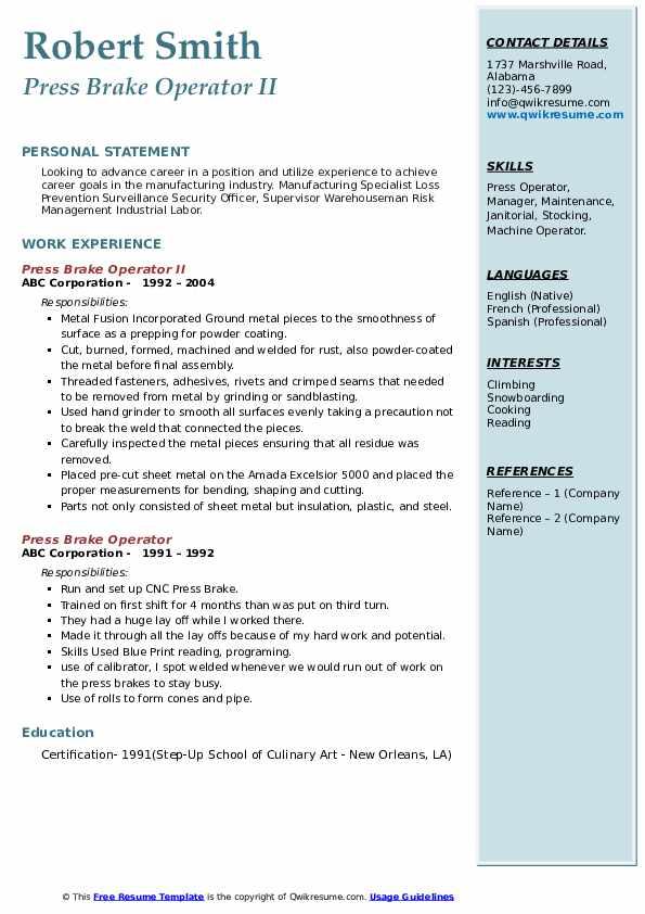Press Brake Operator II Resume Example