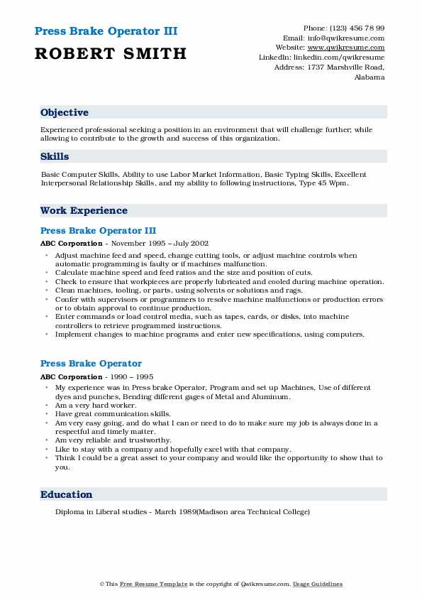 Press Brake Operator III Resume Model