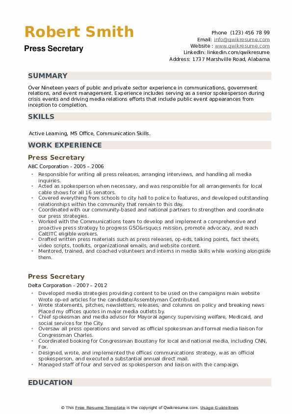 Press Secretary Resume example