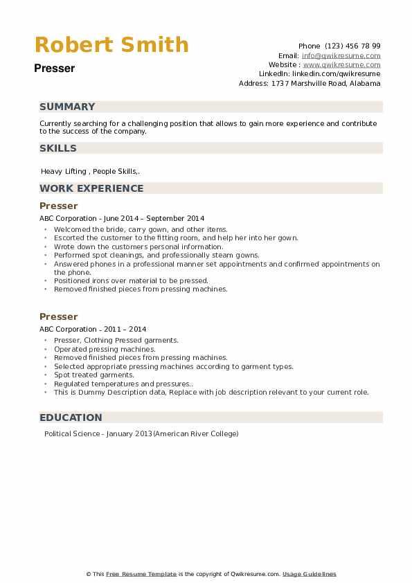 Presser Resume example