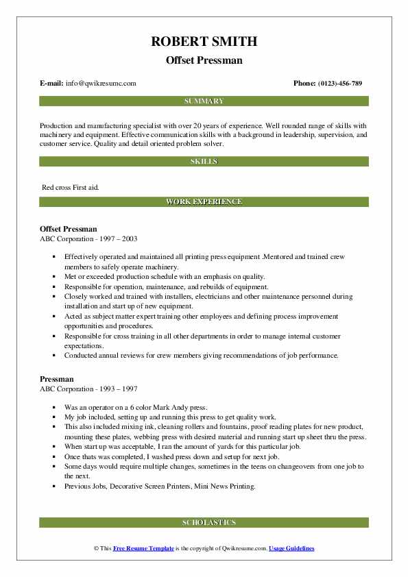 Offset Pressman Resume Template