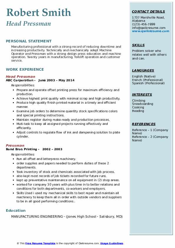 Head Pressman Resume Example