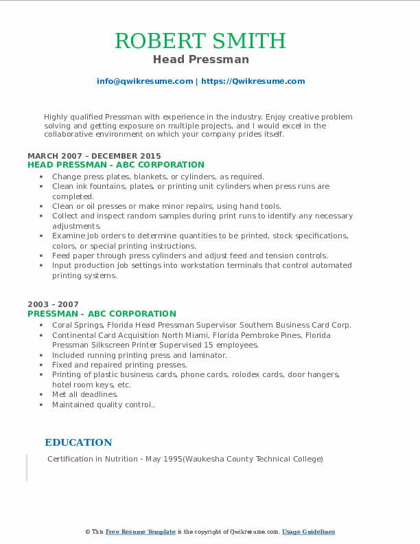 Head Pressman Resume Template