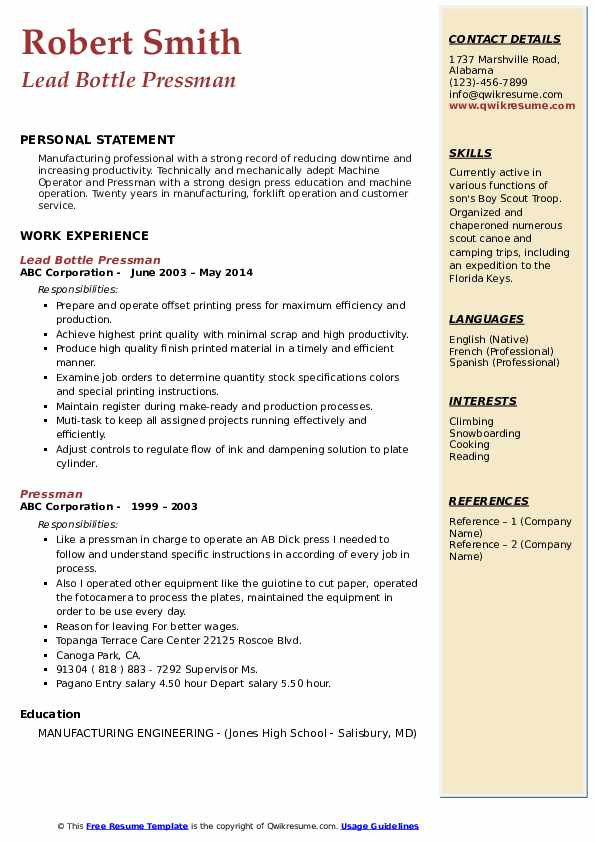 Lead Bottle Pressman Resume Example