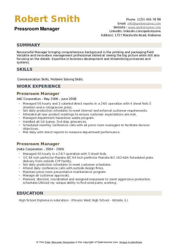 Pressroom Manager Resume example