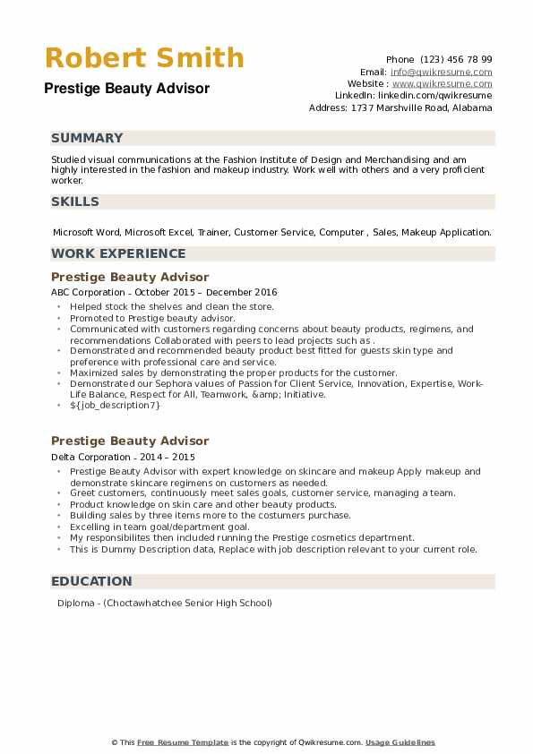 Prestige Beauty Advisor Resume example