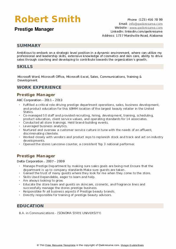 Prestige Manager Resume example