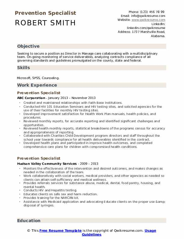 Prevention Specialist Resume Template