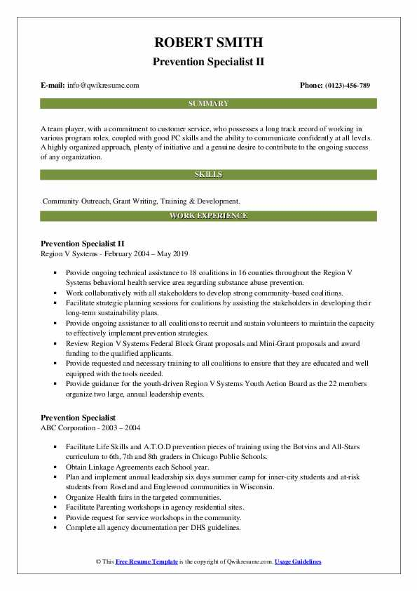 Prevention Specialist II Resume Example