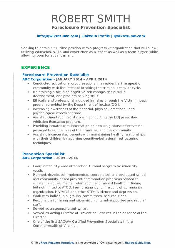 Foreclosure Prevention Specialist Resume Format