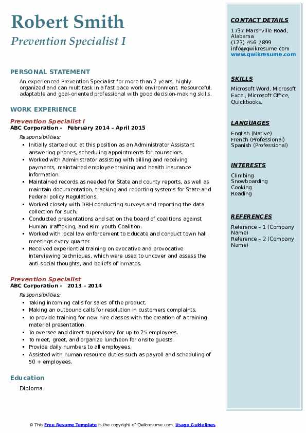 Prevention Specialist I Resume Model
