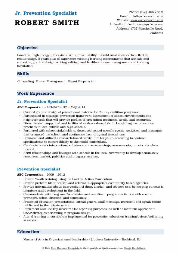 Jr. Prevention Specialist Resume Format