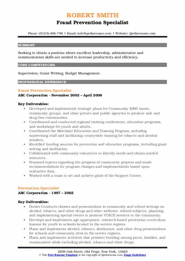 Fraud Prevention Specialist Resume Model