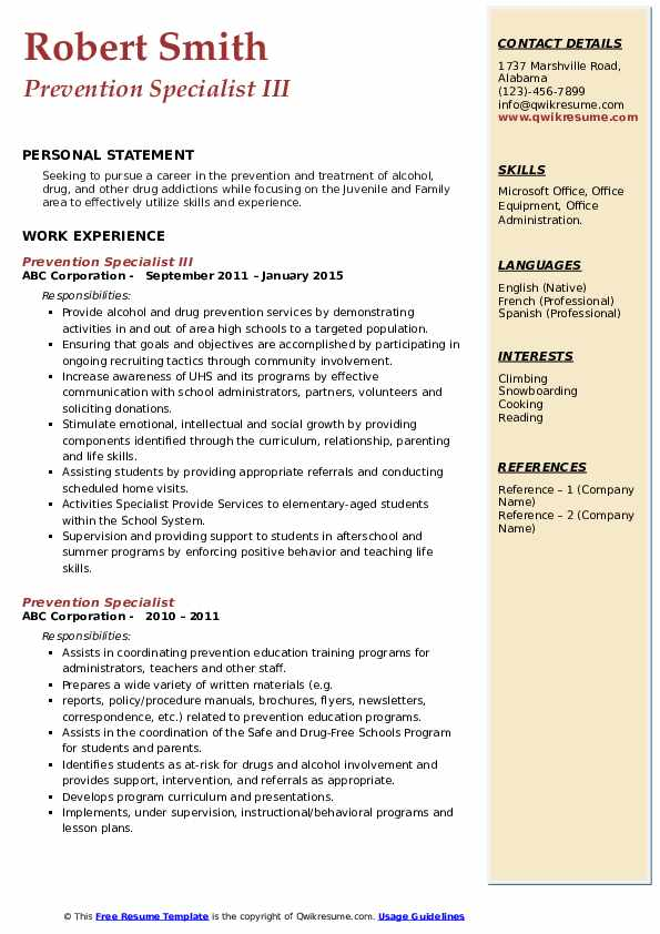 Prevention Specialist III Resume Format