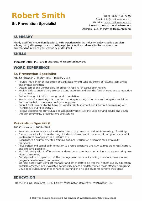 Sr. Prevention Specialist Resume Format