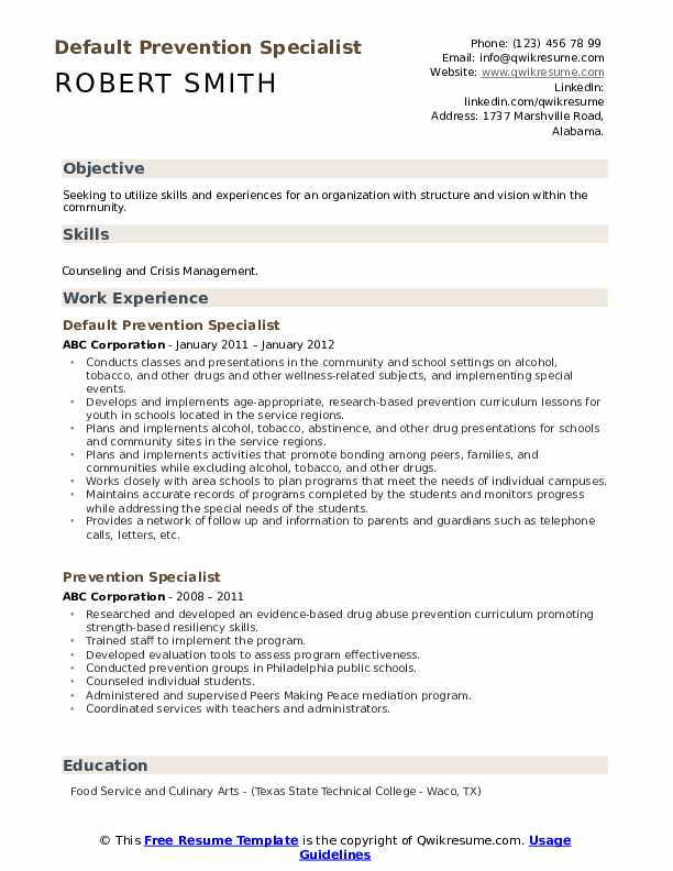 Default Prevention Specialist Resume Example