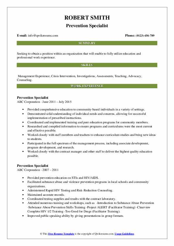Prevention Specialist Resume example