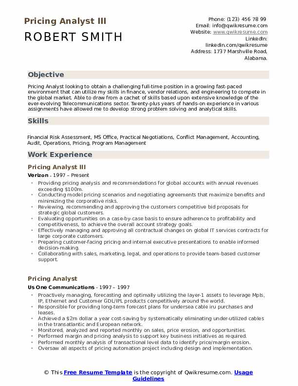 Pricing Analyst III Resume Model