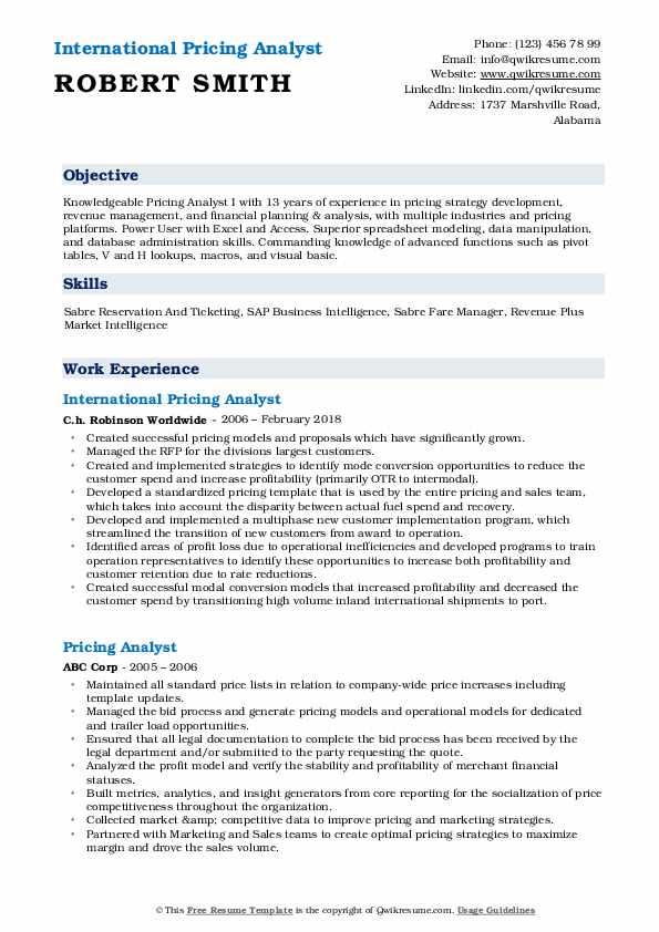 International Pricing Analyst Resume Model