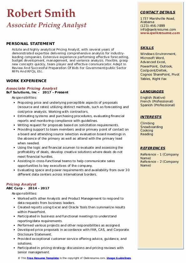 pricing analyst resume samples