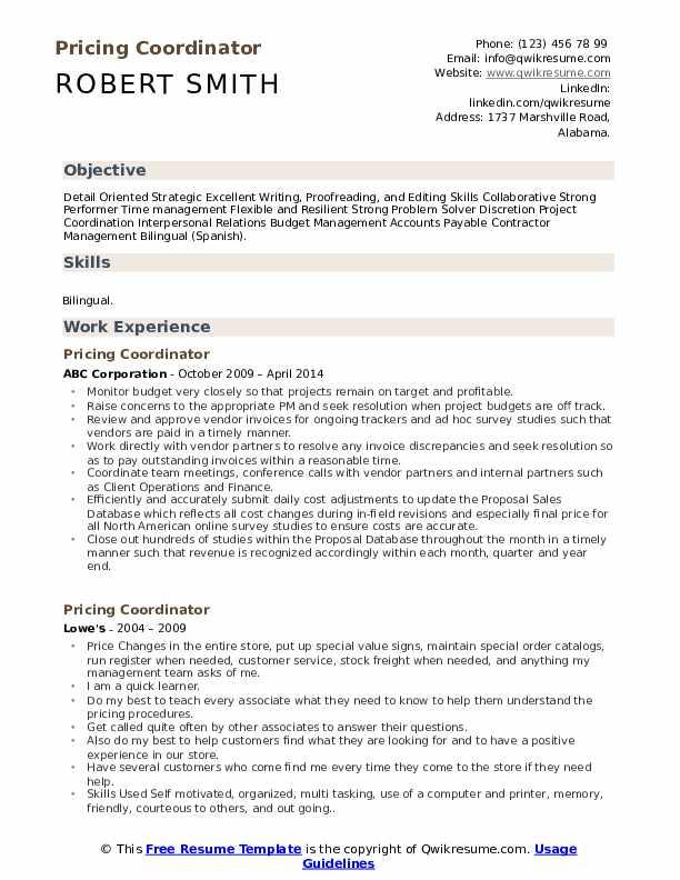Pricing Coordinator Resume Template