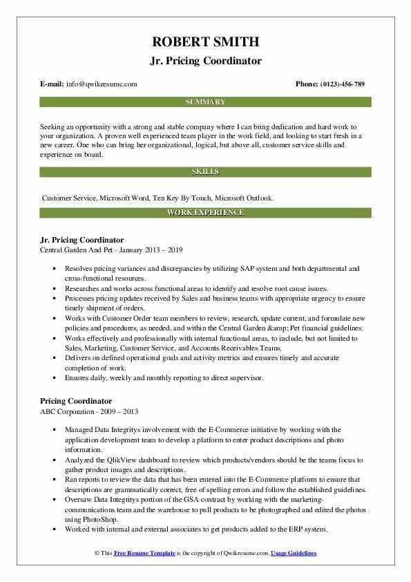 Jr. Pricing Coordinator Resume Model