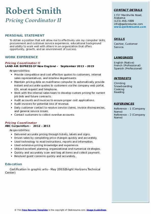 Pricing Coordinator II Resume Model