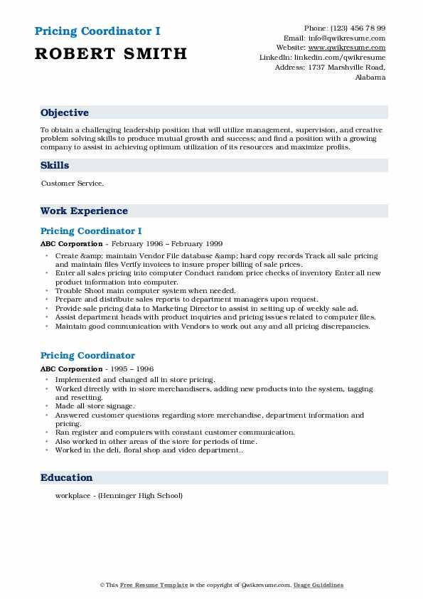 Pricing Coordinator I Resume Model
