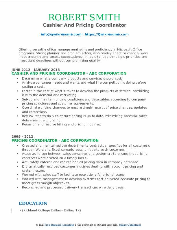 Cashier And Pricing Coordinator Resume Format