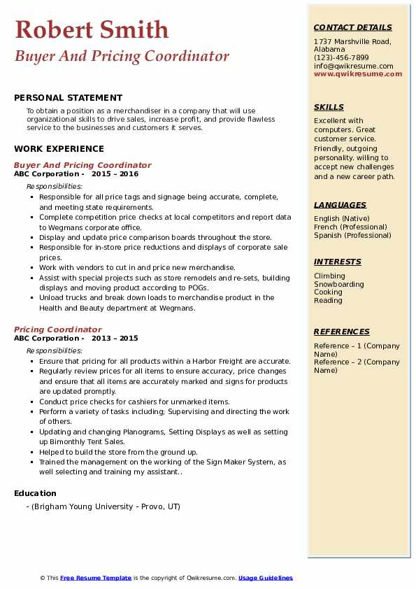 Buyer And Pricing Coordinator Resume Template