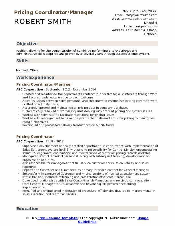 Pricing Coordinator/Manager Resume Model