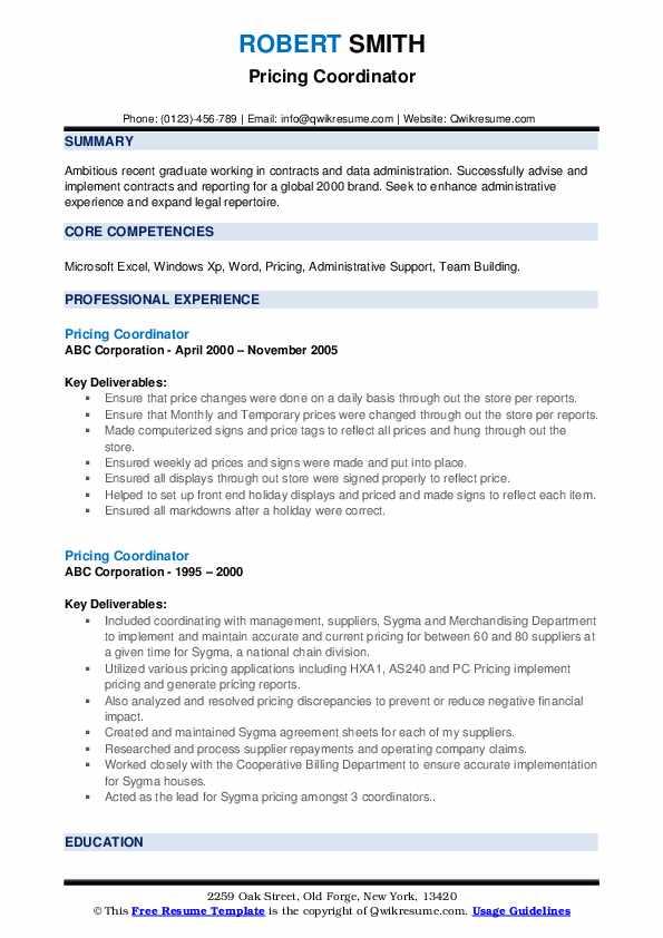 pricing coordinator resume samples