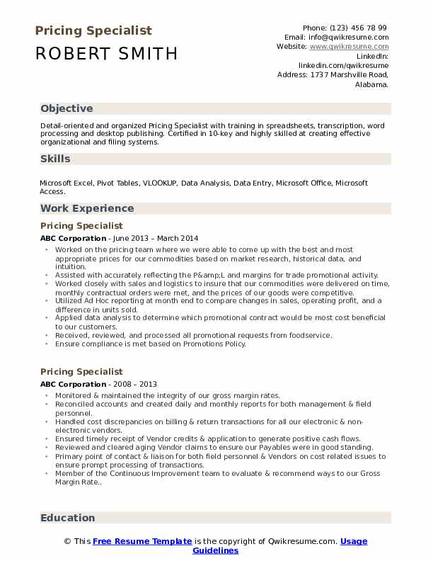 Pricing Specialist Resume Model