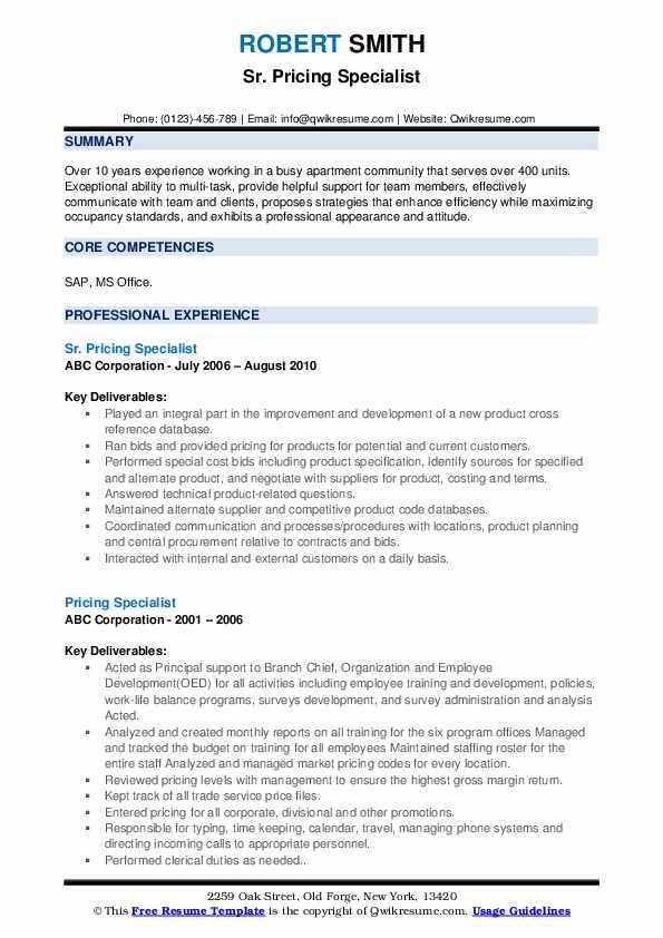 Sr. Pricing Specialist Resume Format