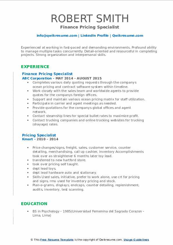 Finance Pricing Specialist Resume Format