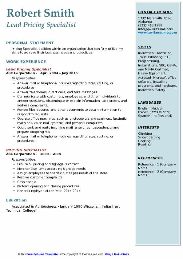 Lead Pricing Specialist Resume Example