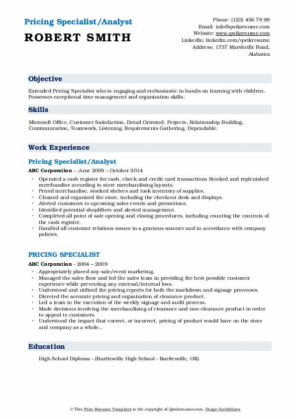 Pricing Specialist/Analyst Resume Sample