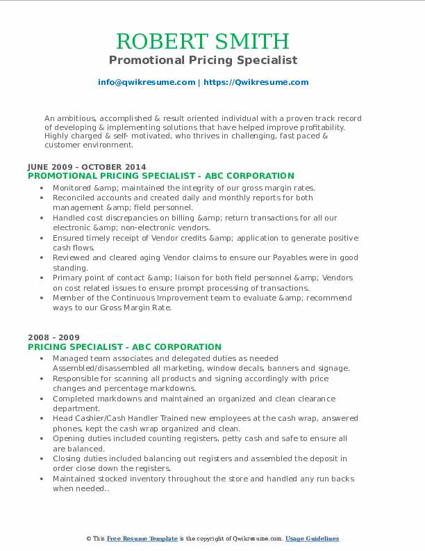 Promotional Pricing Specialist Resume Sample