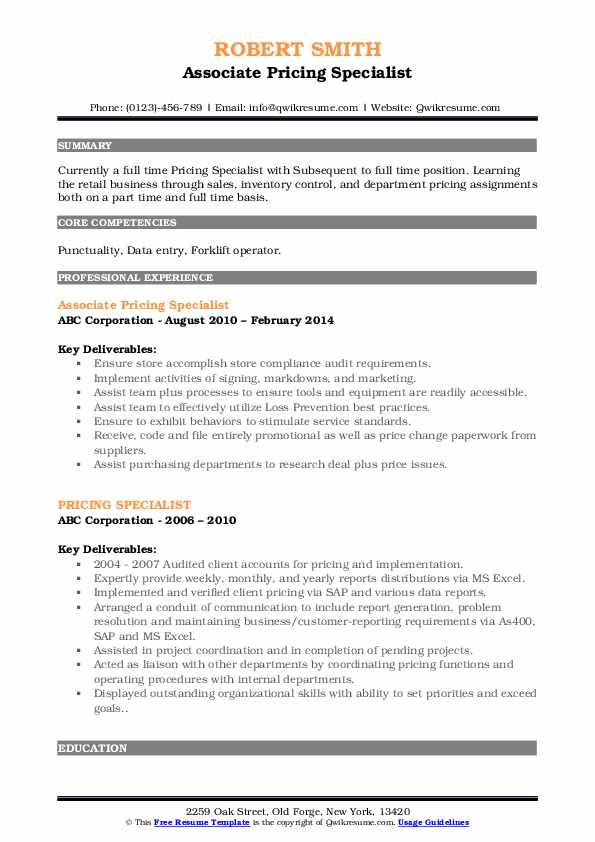 Associate Pricing Specialist Resume Format