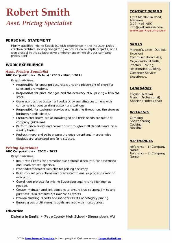 Asst. Pricing Specialist Resume Model