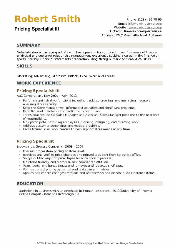 Pricing Specialist III Resume Template