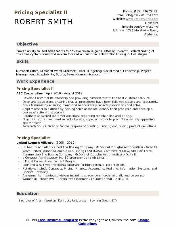 Pricing Specialist II Resume Sample