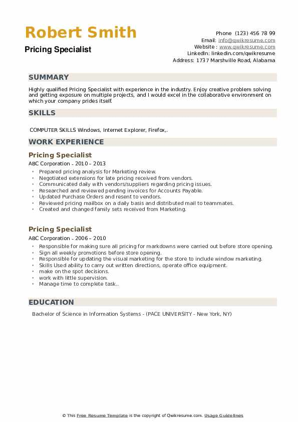 Senior Pricing Analyst Resume example