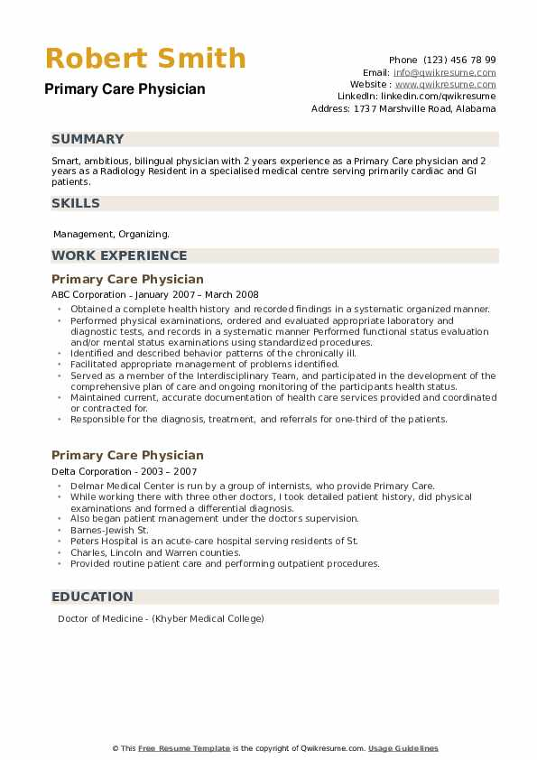 Primary Care Physician Resume example