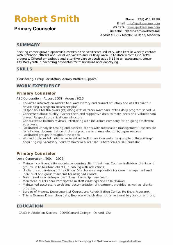 Primary Counselor Resume example